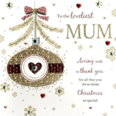 Loveliest Mum Special Luxury Handmade Christmas Card