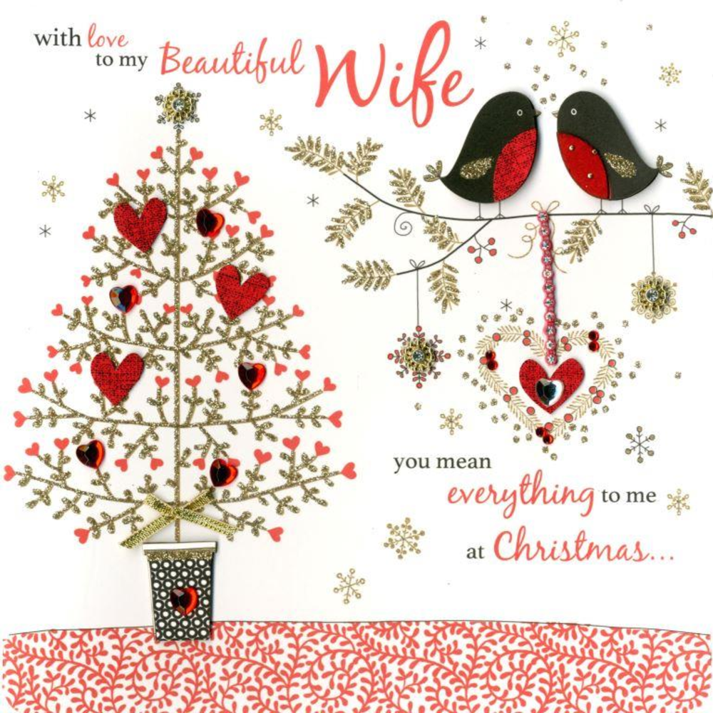 Beautiful Wife Special Luxury Handmade Christmas Card