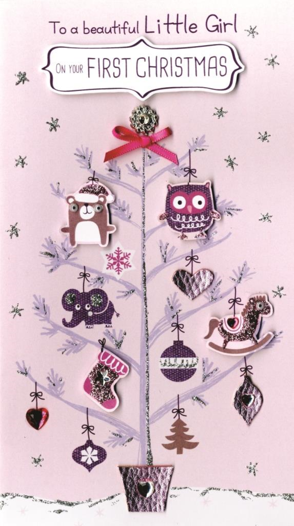 Girl's First Christmas Embellished Card