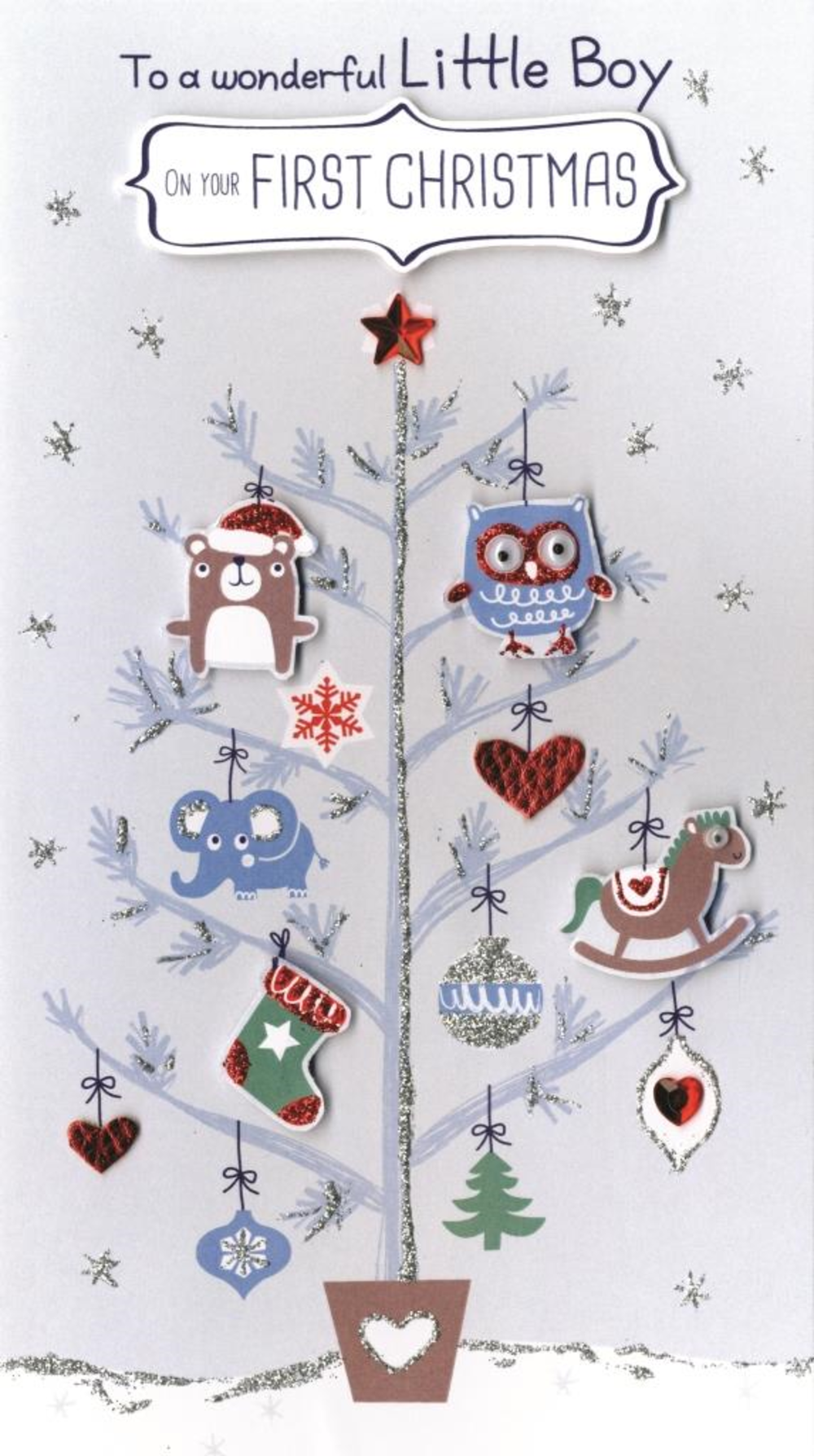 Boy's First Christmas Embellished Card