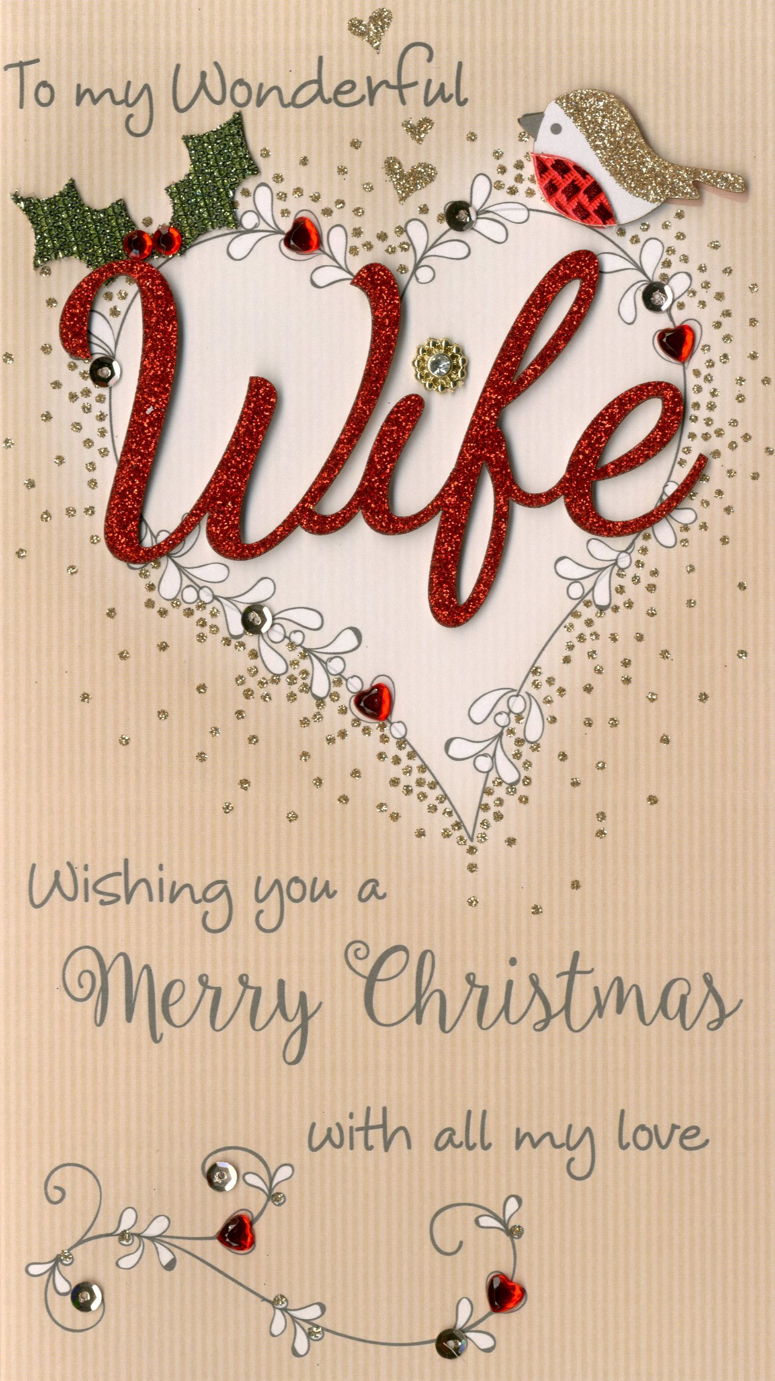 Wife embellished christmas card cards love kates wife embellished christmas card kristyandbryce Choice Image
