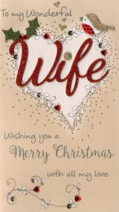 Wife Embellished Christmas Card