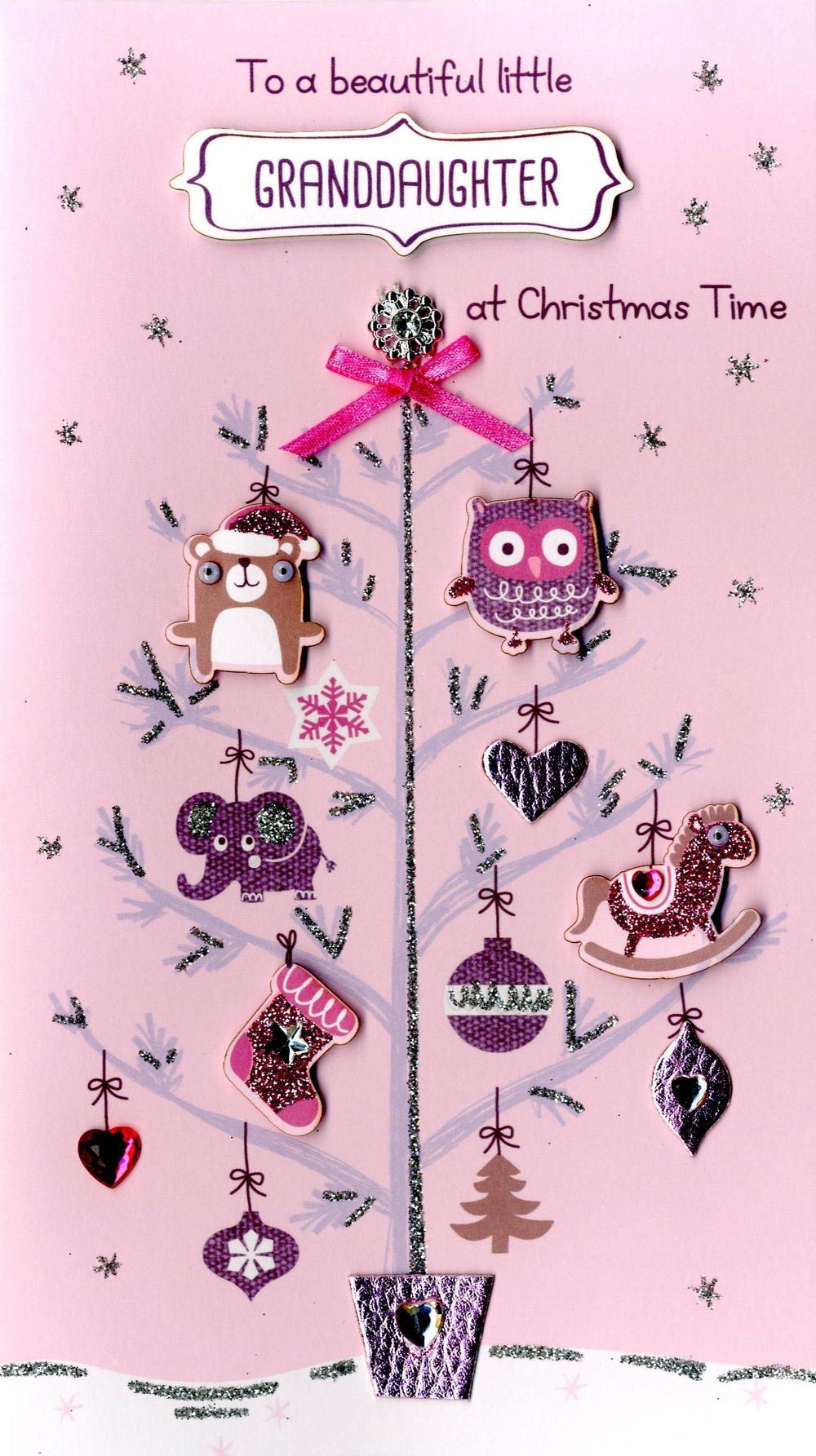 Little Granddaughter Embellished Christmas Card