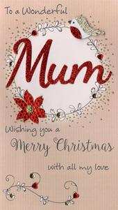 Wonderful Mum Embellished Christmas Card