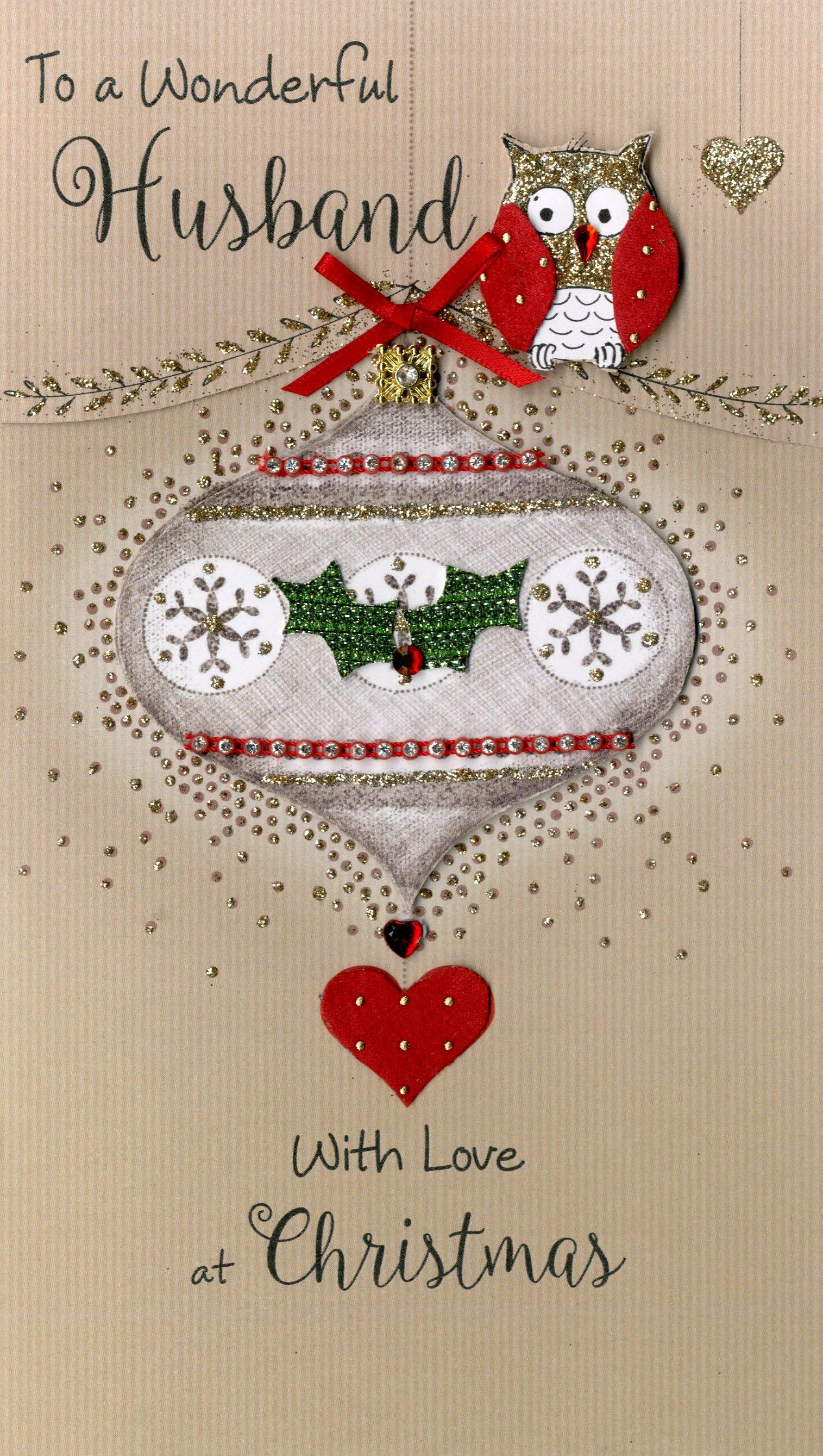 wonderful husband embellished christmas card  cards