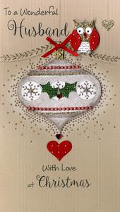 Wonderful Husband Embellished Christmas Card