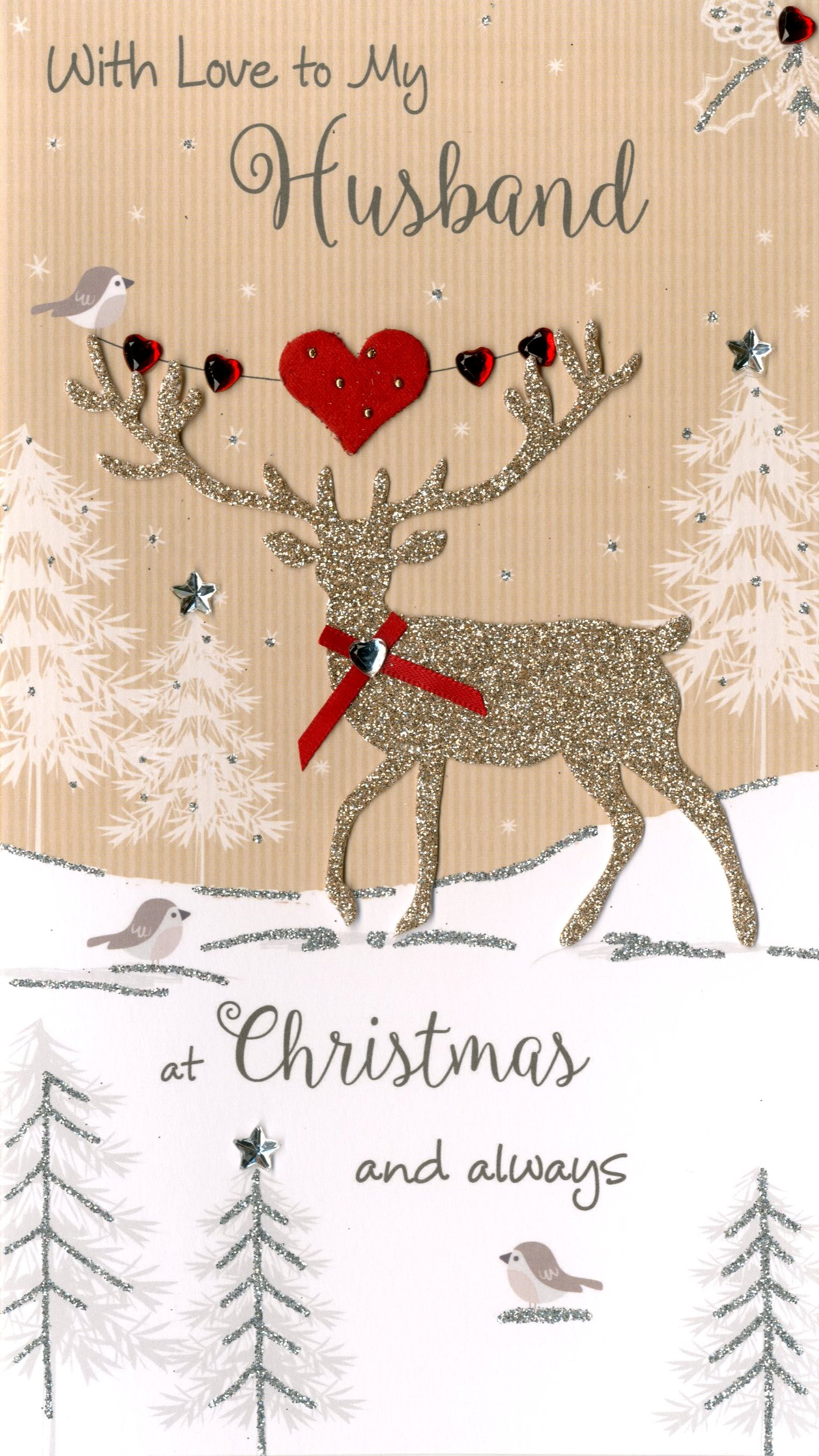To My Husband Embellished Christmas Card | Cards