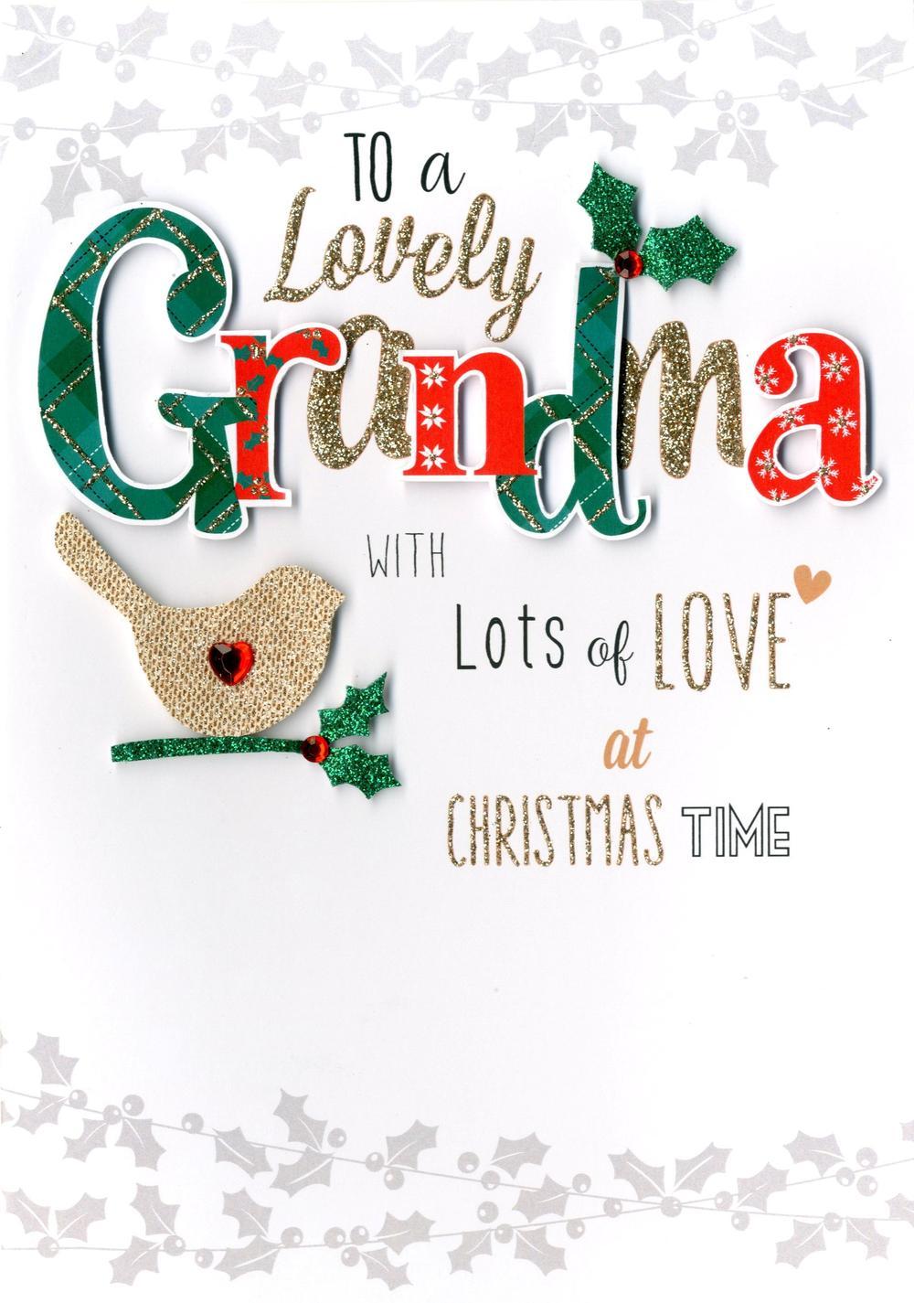 Lovely Grandma Embellished Christmas Card