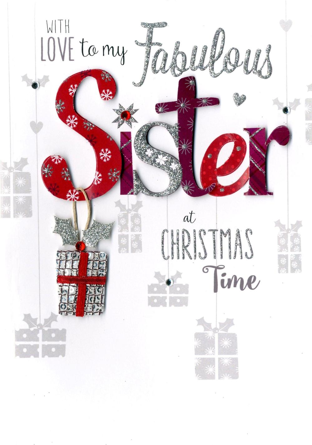 Fabulous Sister Embellished Christmas Card