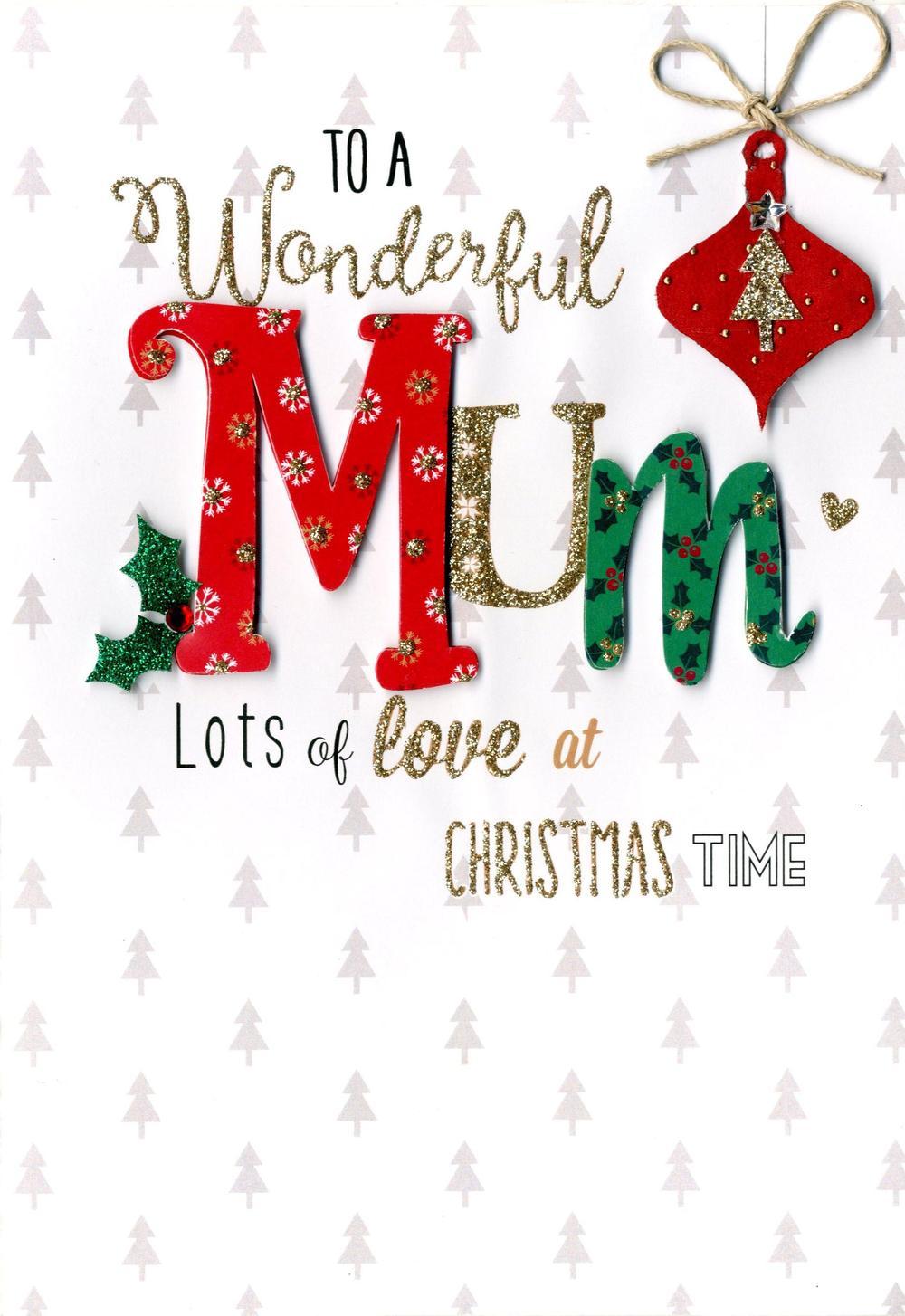 Wonderful Mum Embellished Christmas Card