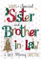 Sister & Brother-In-Law Embellished Christmas Card