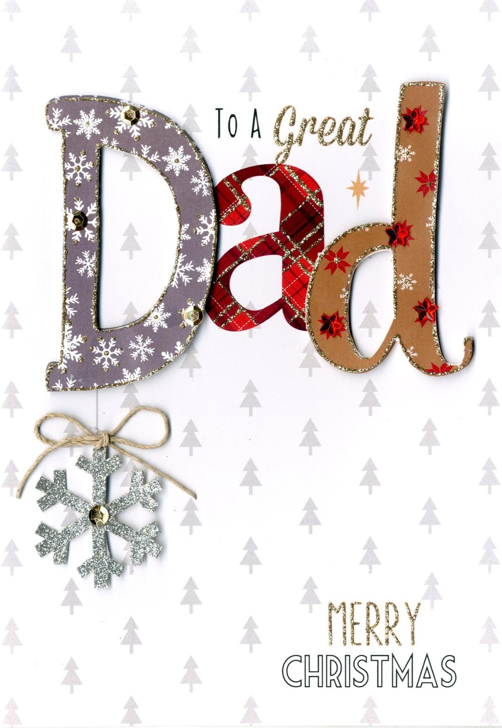 Great Dad Embellished Christmas Card