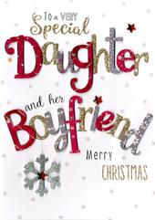 Daughter & Her Boyfriend Embellished Christmas Card