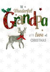 Wonderful Grandpa Embellished Christmas Card