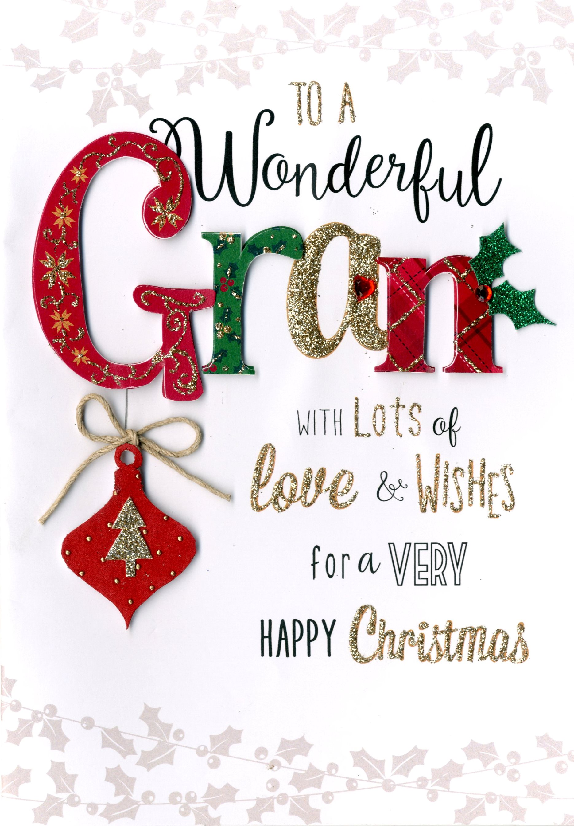 Lovely Gran Embellished Christmas Card