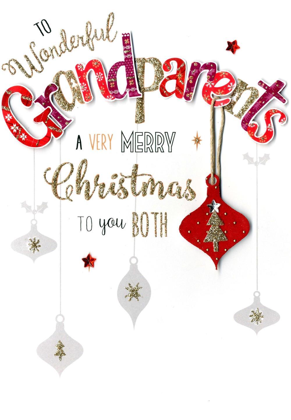 Grandparents Embellished Christmas Card