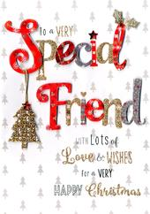 Very Special Friend Embellished Christmas Card