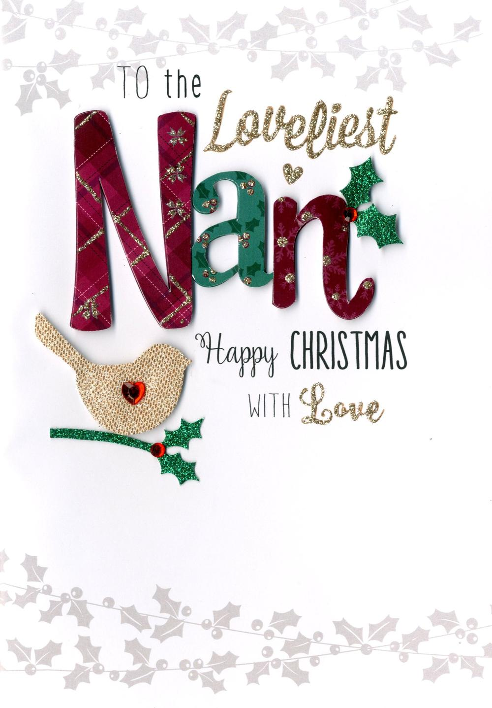 Loveliest Nan Embellished Christmas Card