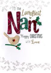 Loveliest Nan Embellished Christmas Card