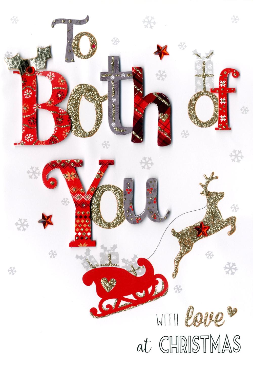 To Both Of You Embellished Christmas Card