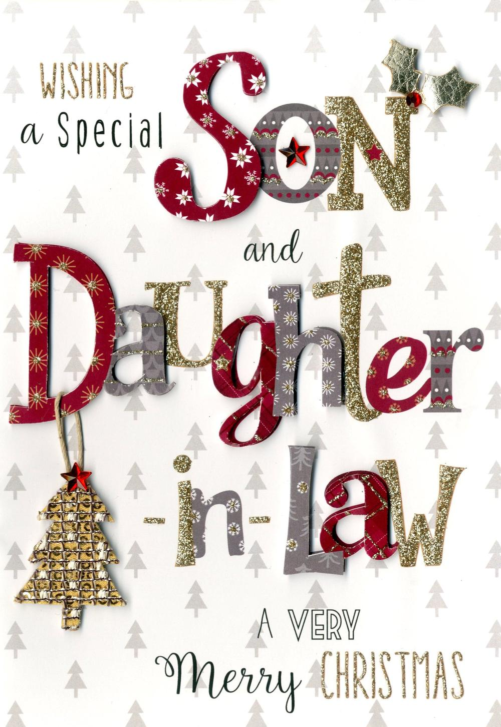 Son & Daughter-In-Law Embellished Christmas Card