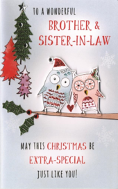 Brother & Sister-In-Law Embellished Christmas Card