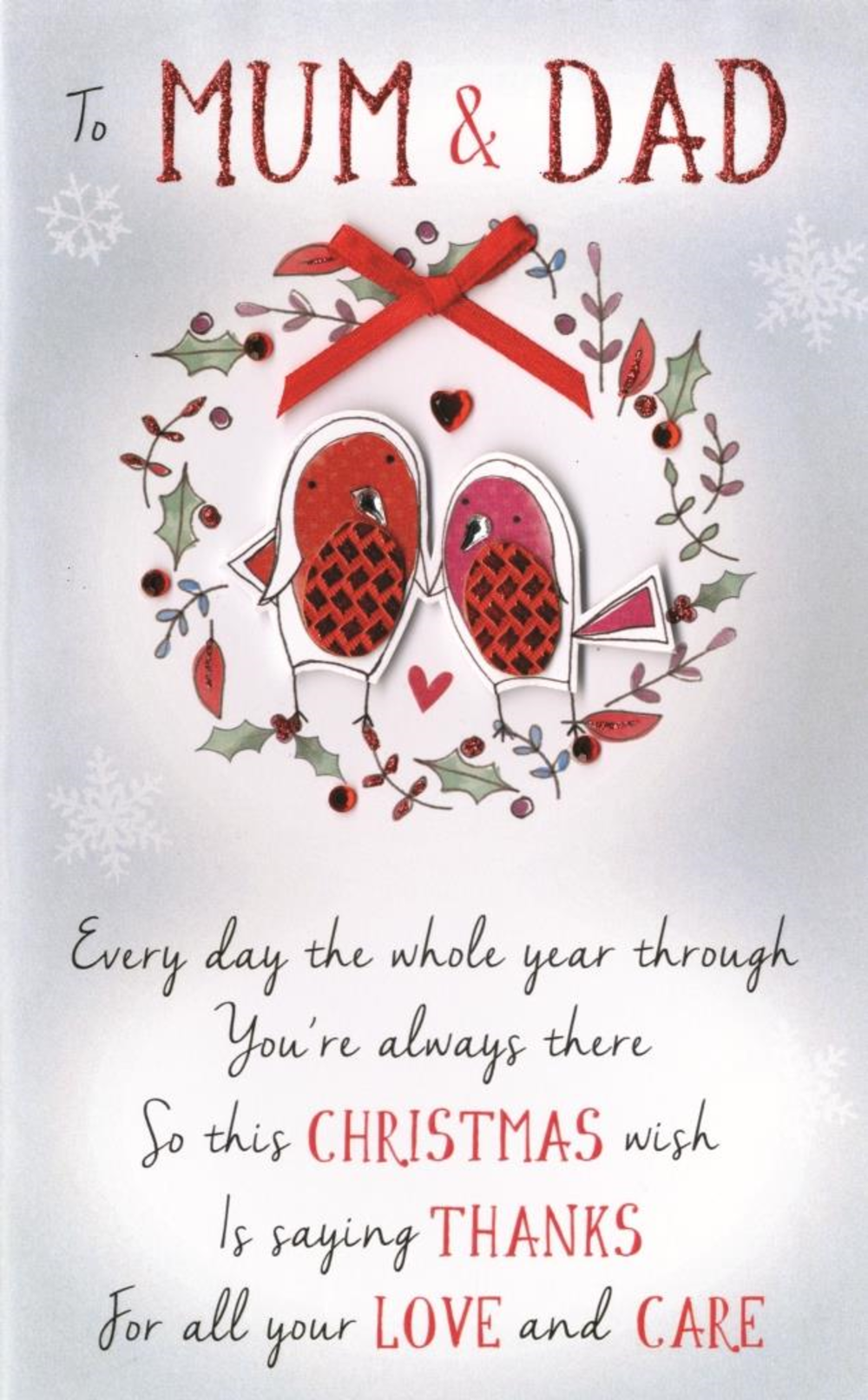 To Mum & Dad Embellished Christmas Card