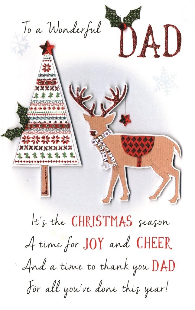Wonderful Dad Embellished Christmas Card | Cards