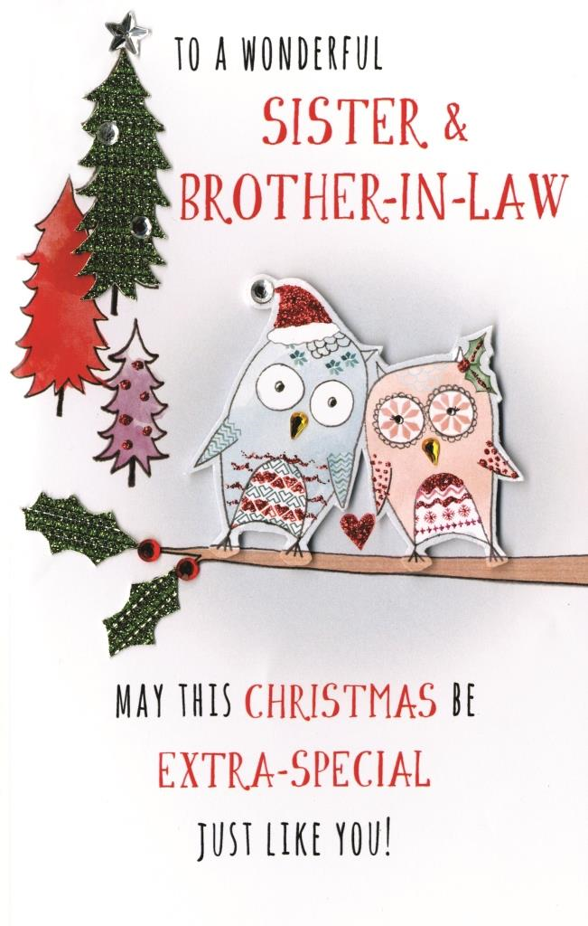 Sister & Brother-In-Law Embellished Christmas Card | Cards