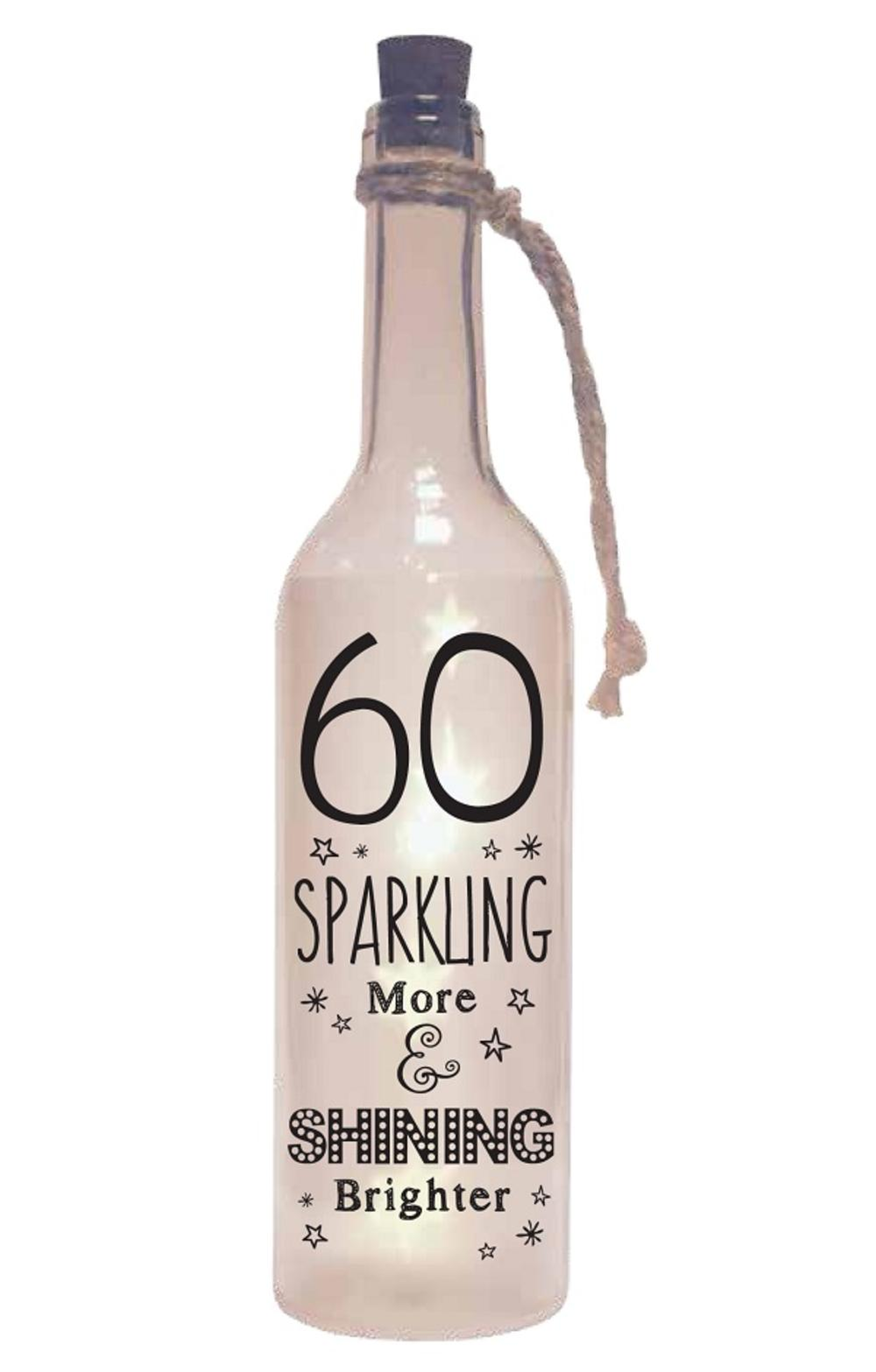 60th Birthday Starlight Bottle Light Up Sentimental Message Bottles
