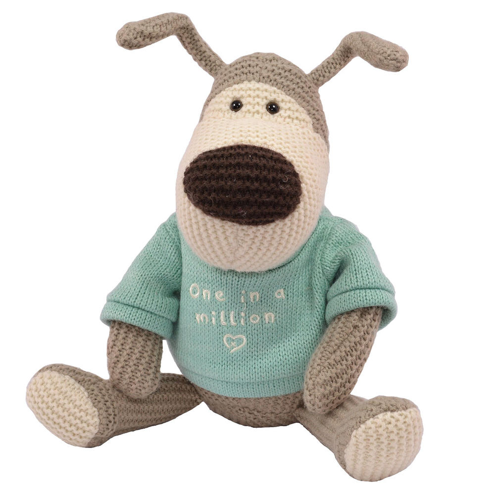 """Boofle One In A Million 10"""" Sitting Plush Wearing A Knitted Jumper"""