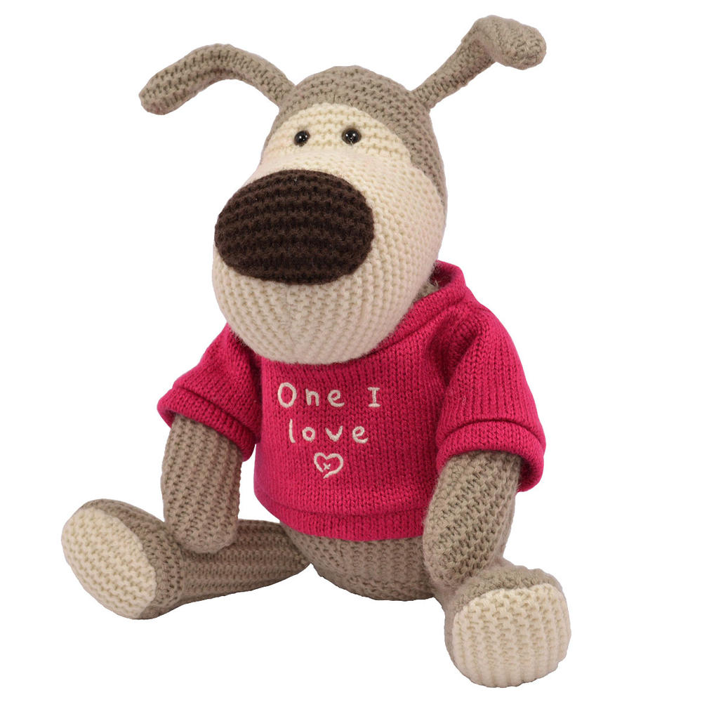 """Boofle One I Love 10"""" Sitting Plush Wearing A Knitted Jumper"""