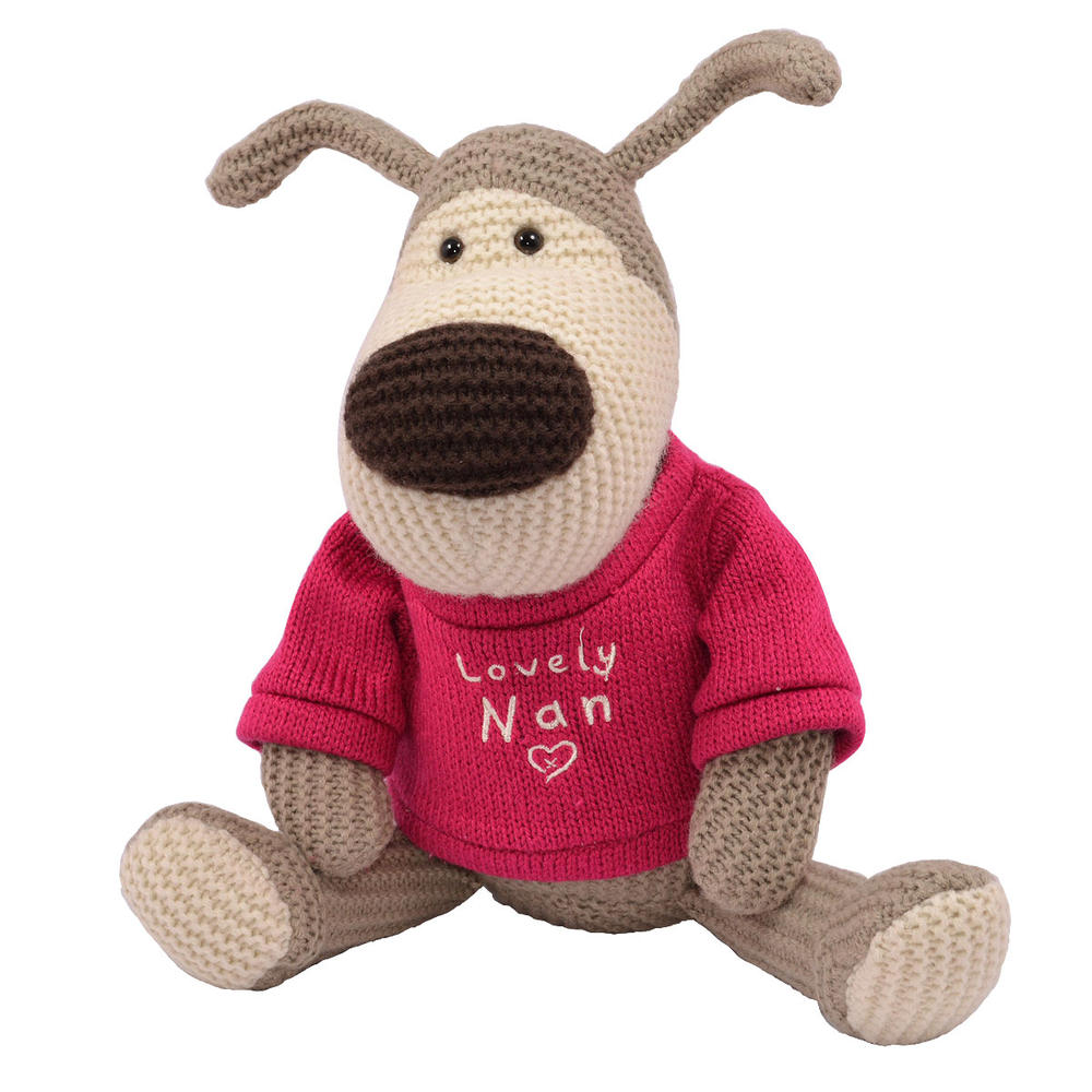 "Boofle Lovely Nan 10"" Sitting Plush Wearing A Knitted Jumper"