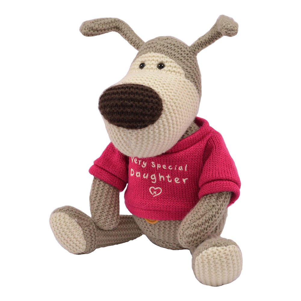 """Boofle Special Daughter 10"""" Sitting Plush Wearing A Knitted Jumper"""
