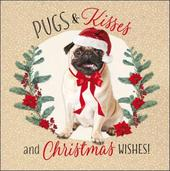 Pack of 5 Pugs & Kisses Children With Cancer Charity Christmas Cards