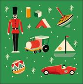 Pack of 5 Retro Toys Prince's Trust Charity Christmas Cards