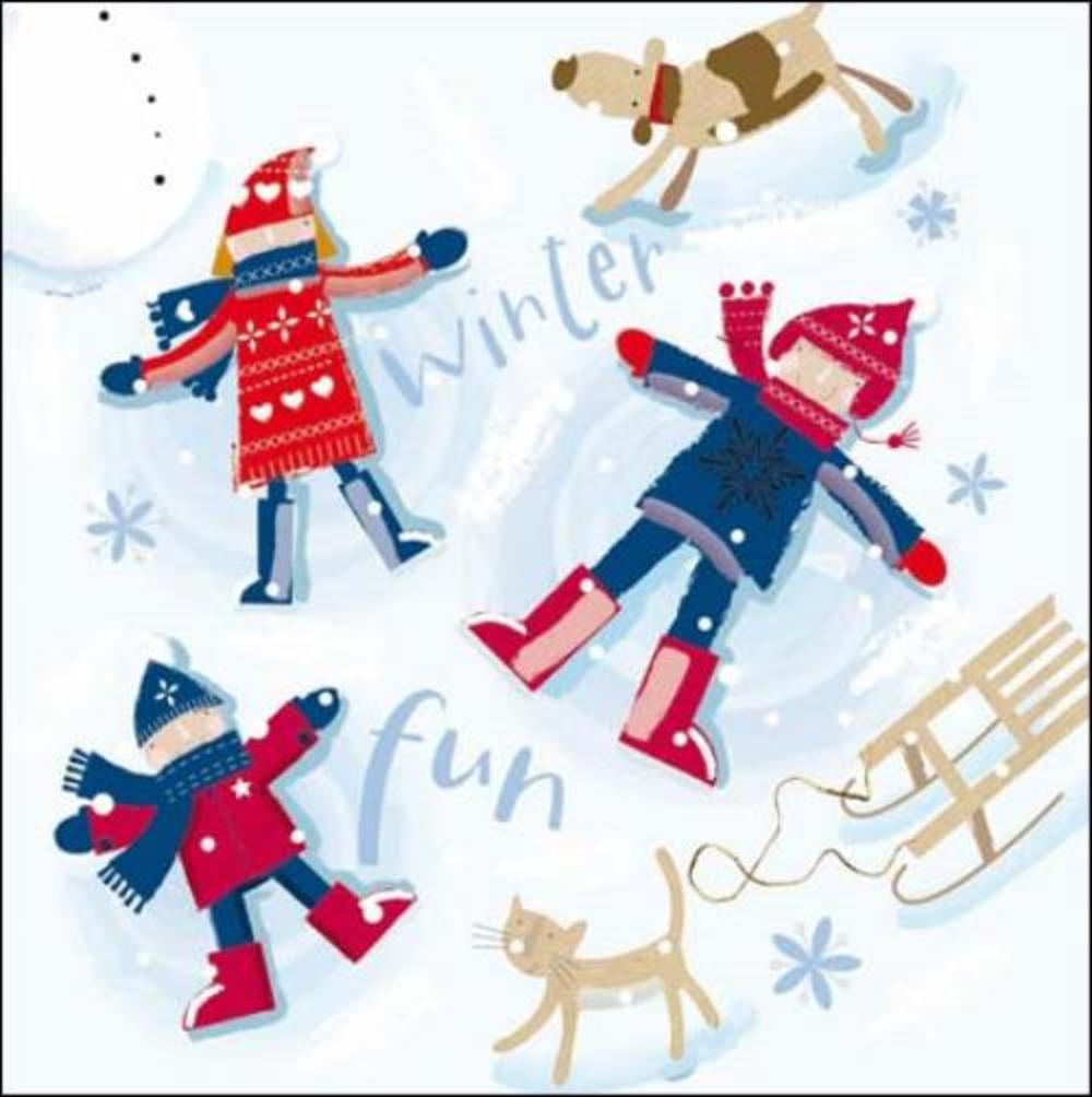 Pack of 5 Winter Fun ChildLine Charity Christmas Cards