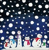 Pack of 5 Snowmen British Heart Foundation Charity Christmas Cards