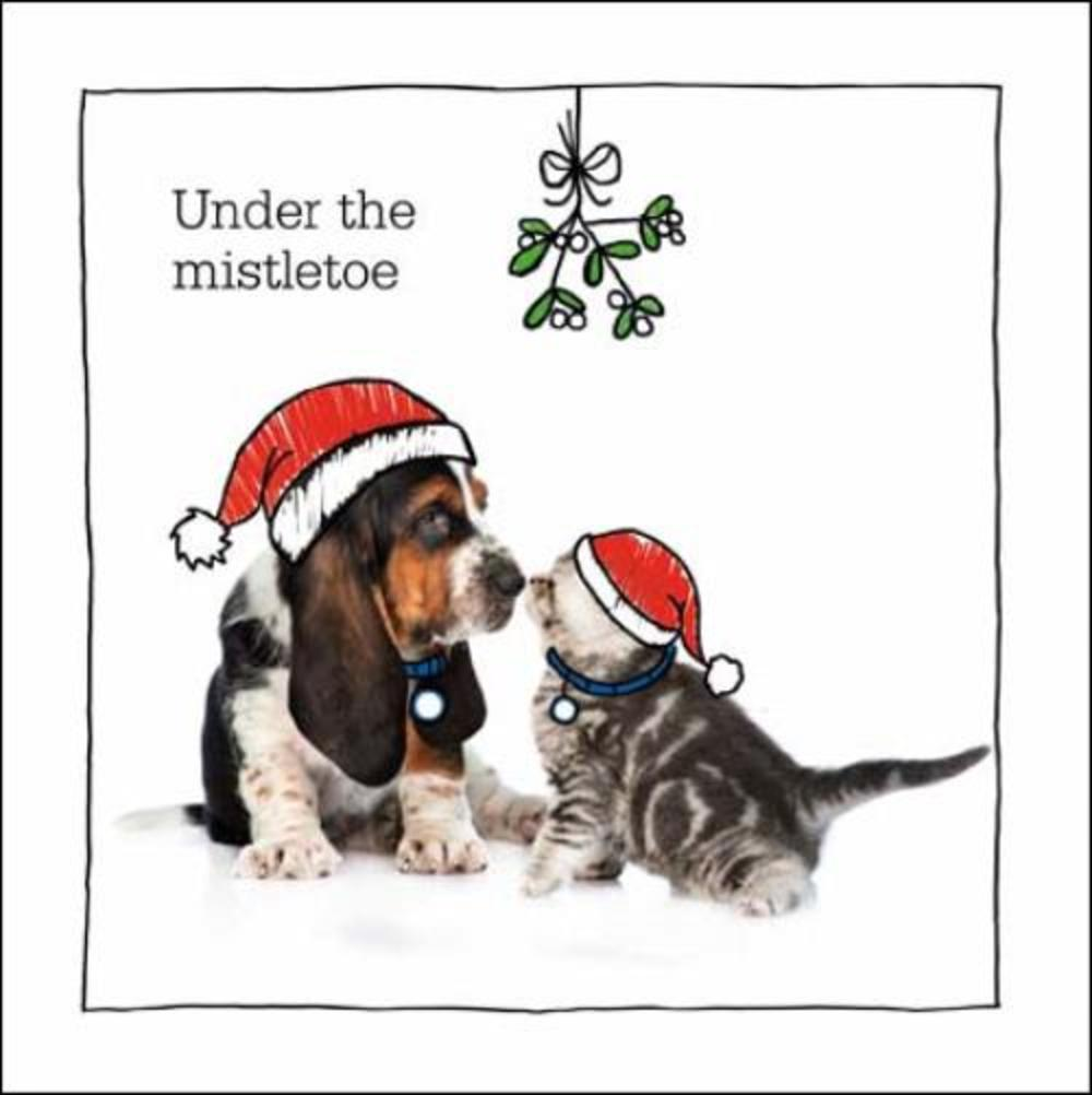 Under The Mistletoe Battersea Cats & Dogs Christmas Card