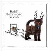 Rudolf Red-Nosed Reindeer Battersea Cats & Dogs Christmas Card