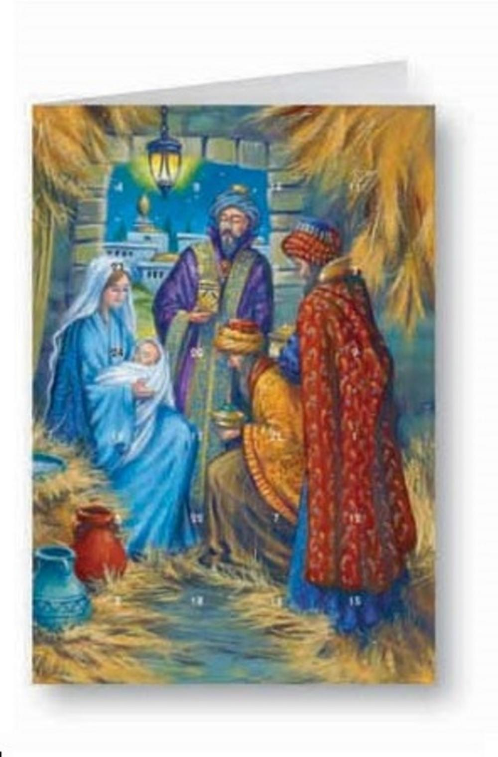 Religious Nativity Advent Calendar Christmas Greeting Card
