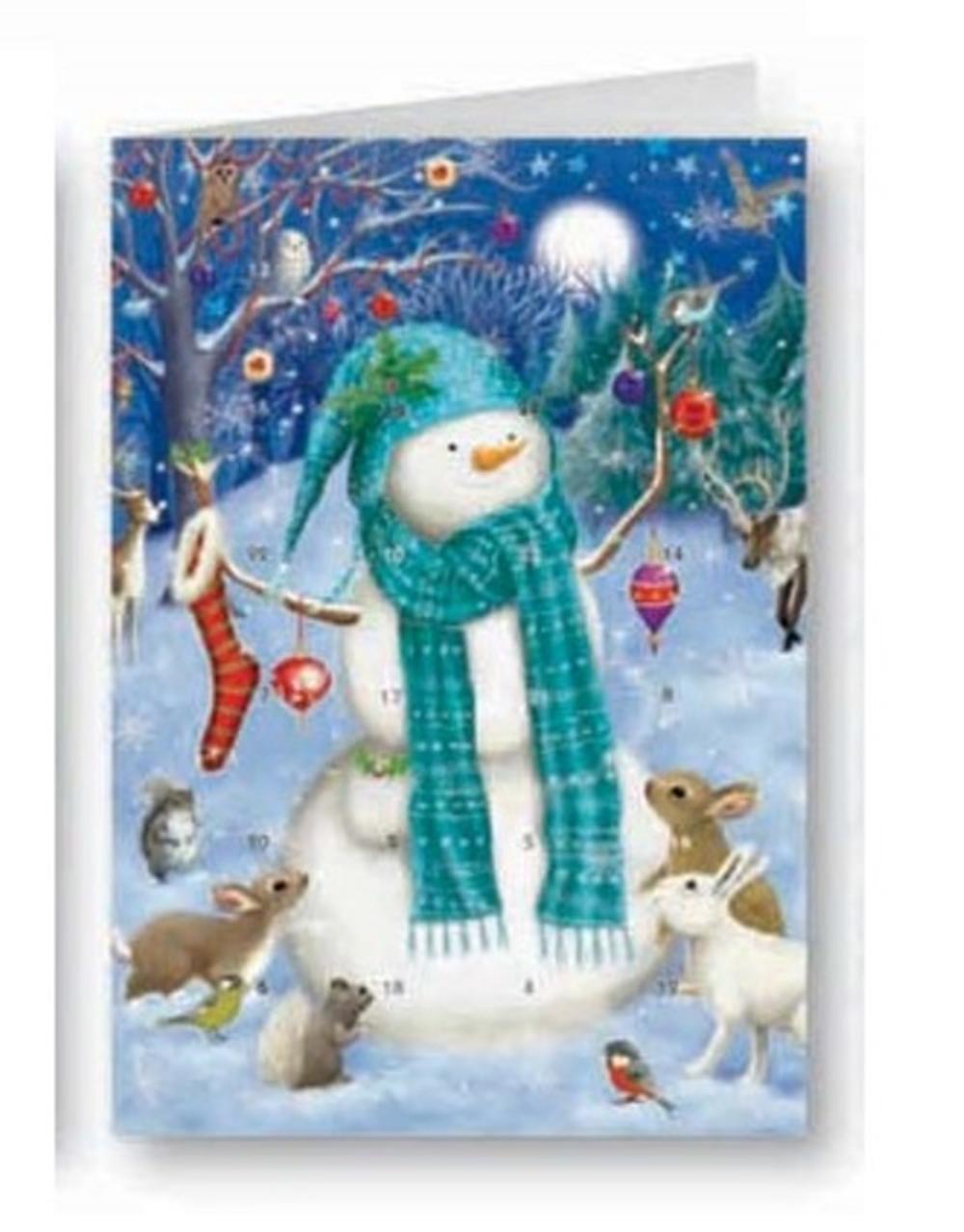 Snowman Advent Calendar Christmas Greeting Card