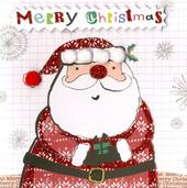 Box of 5 Santa Hand-Finished Christmas Cards