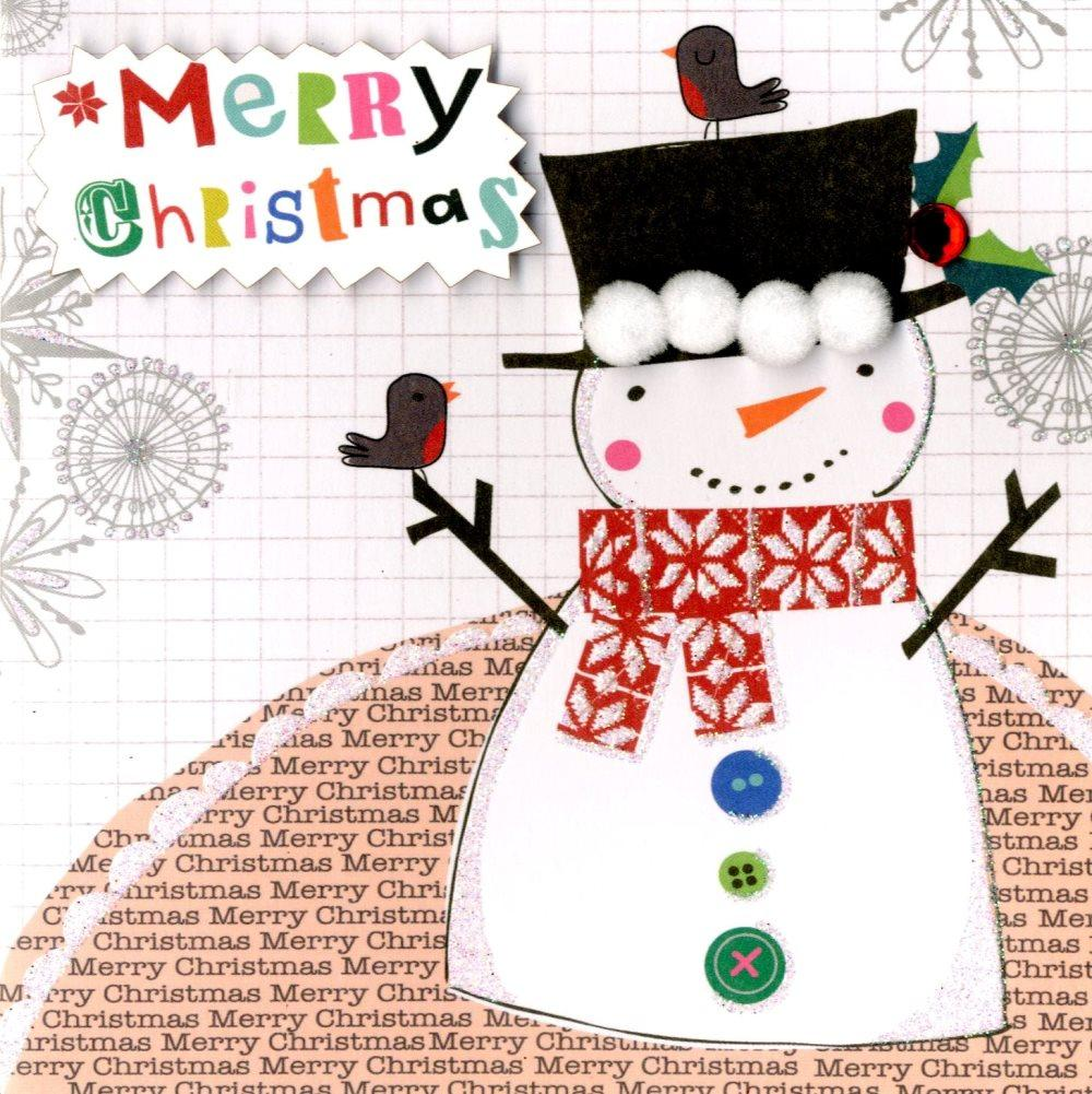 Box of 5 Snowman Hand-Finished Christmas Cards