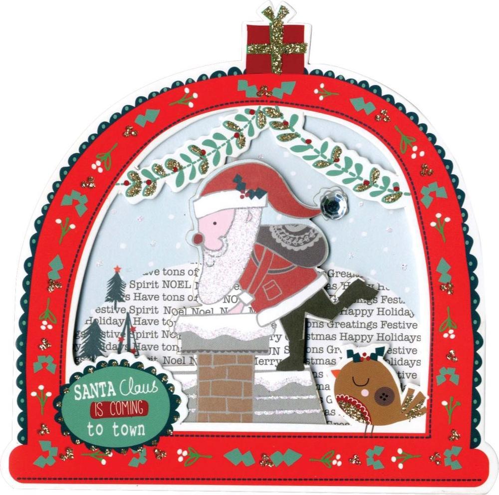 Box of 5 Snowglobe Shaped Santa Christmas Cards