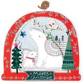 Box of 5 Snowglobe Shaped Polar Bear Christmas Cards