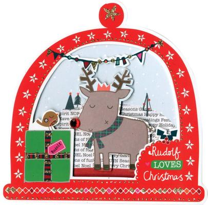 Box of 5 Snowglobe Shaped Rudolph Christmas Cards