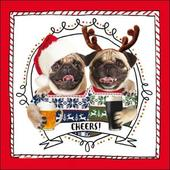Cheers! Pug Dog Christmas Greeting Card