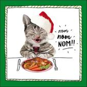Nom Nom Nom Cat Christmas Greeting Card