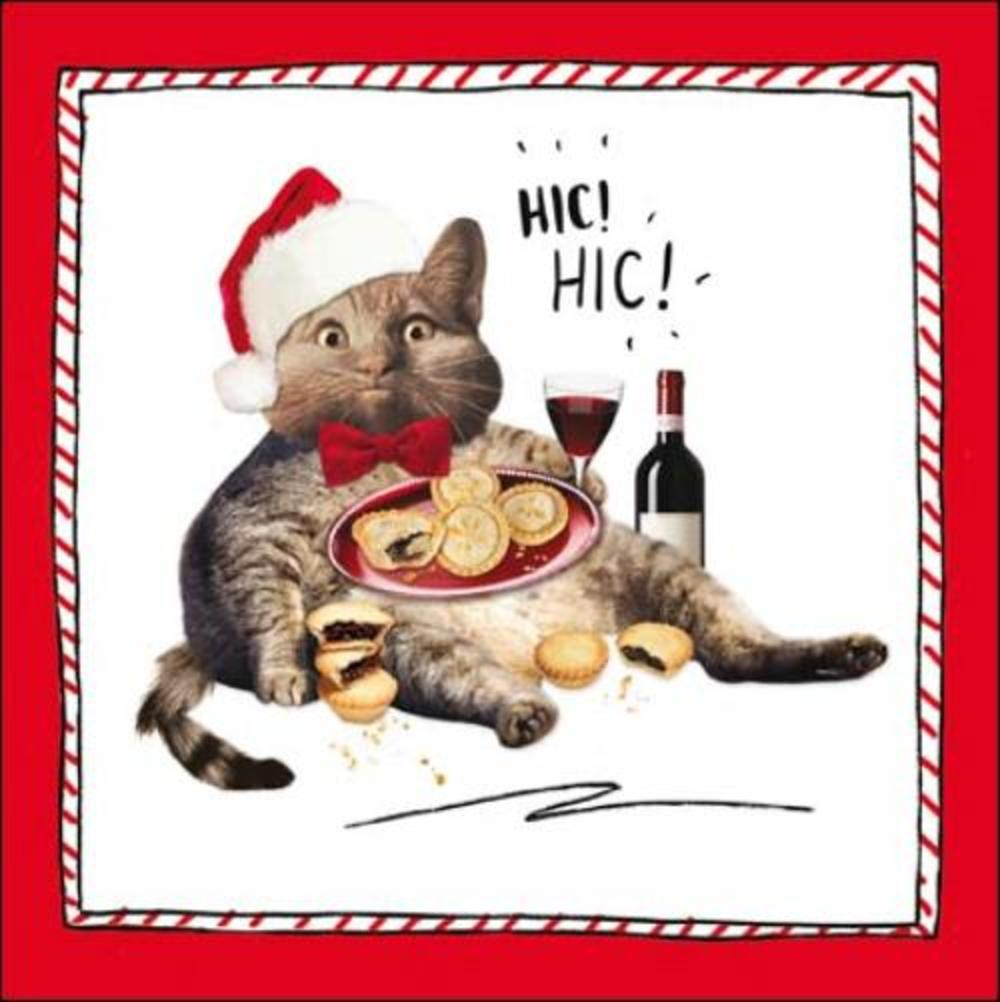 Hic Hic Fat Cat Christmas Greeting Card